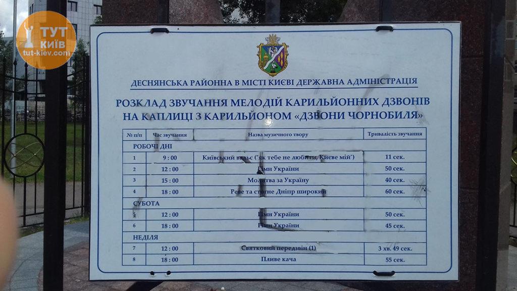 Расписание звучания Колоколов Чернобыля