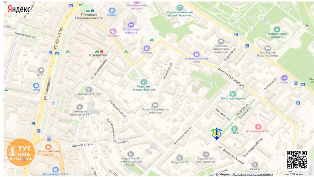 Мапа пам'ятник Пилипу Орлику в Києві